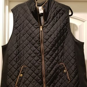 Black Vest with camel piping. Super cute
